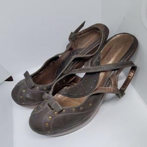 Senso brown sling back platform sandals 9